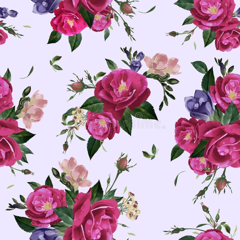 Estampado de flores inconsútil del vector con las rosas y la fresia stock de ilustración