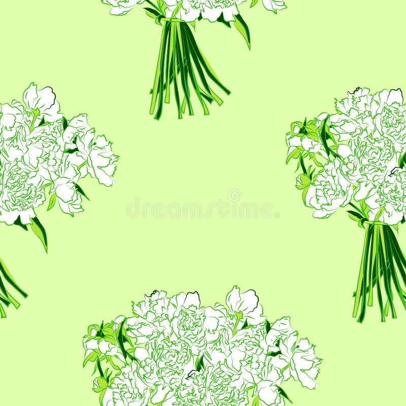 Estampado de flores inconsútil del vector de las flores blancas de la peonía con las hojas verdes ilustración del vector