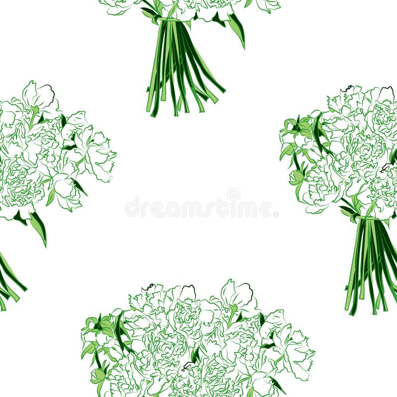 Estampado de flores inconsútil del vector de las flores blancas de la peonía con las hojas verdes stock de ilustración