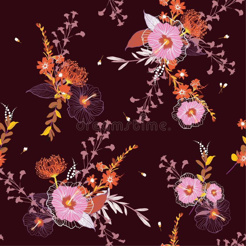 Estampado de flores inconsútil del vector del vintage hermoso, backgr colorido ilustración del vector