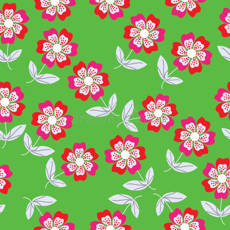 Estampado de flores inconsútil del vector y golpeteo inconsútil stock de ilustración