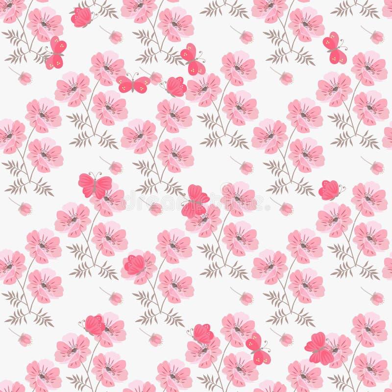 Estampado de flores incons?til del verano con las flores y las mariposas rosadas de la amapola en el fondo blanco Impresi?n para  ilustración del vector