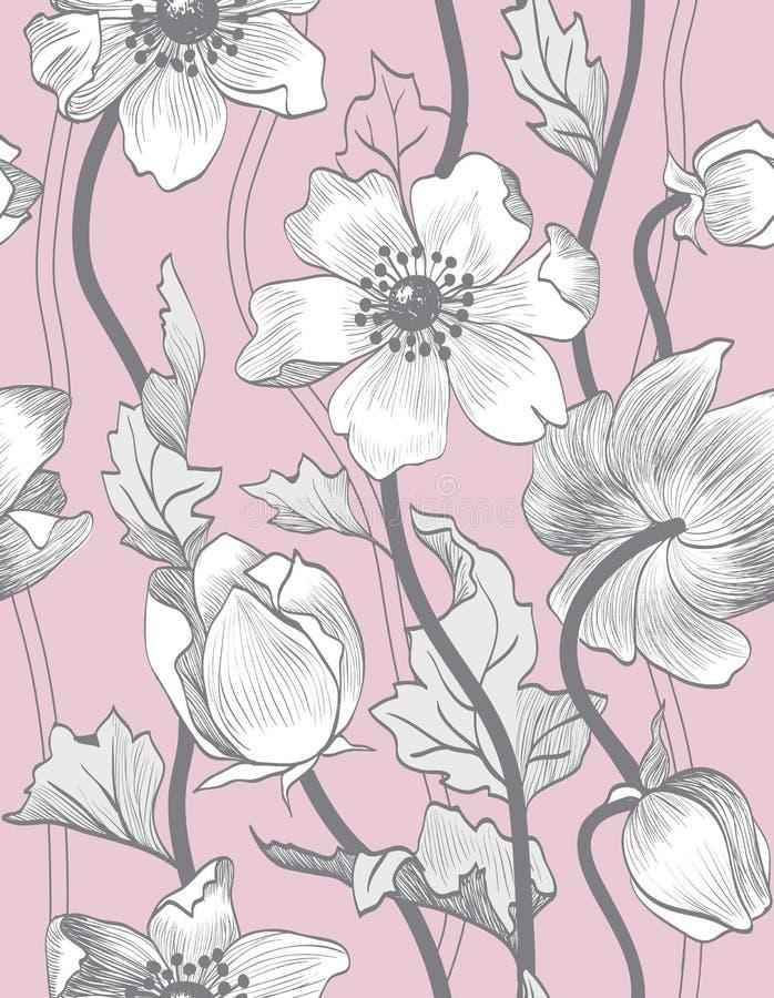 Estampado de flores inconsútil del vintage del vector libre illustration