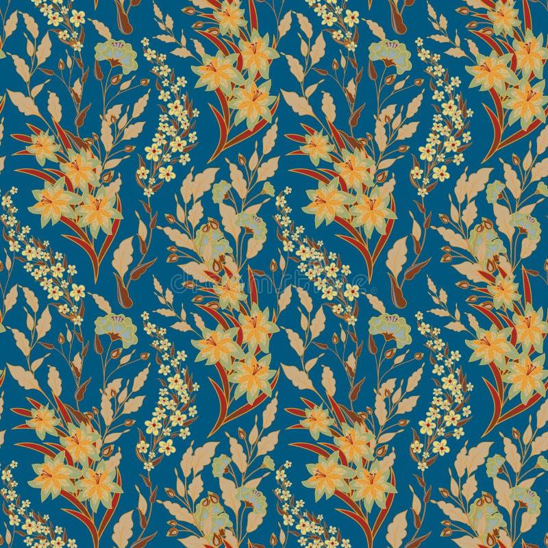 Estampado de flores inconsútil del vintage en un fondo negro Flores e hierba de la primavera Ejemplo botánico del vector amarillo libre illustration