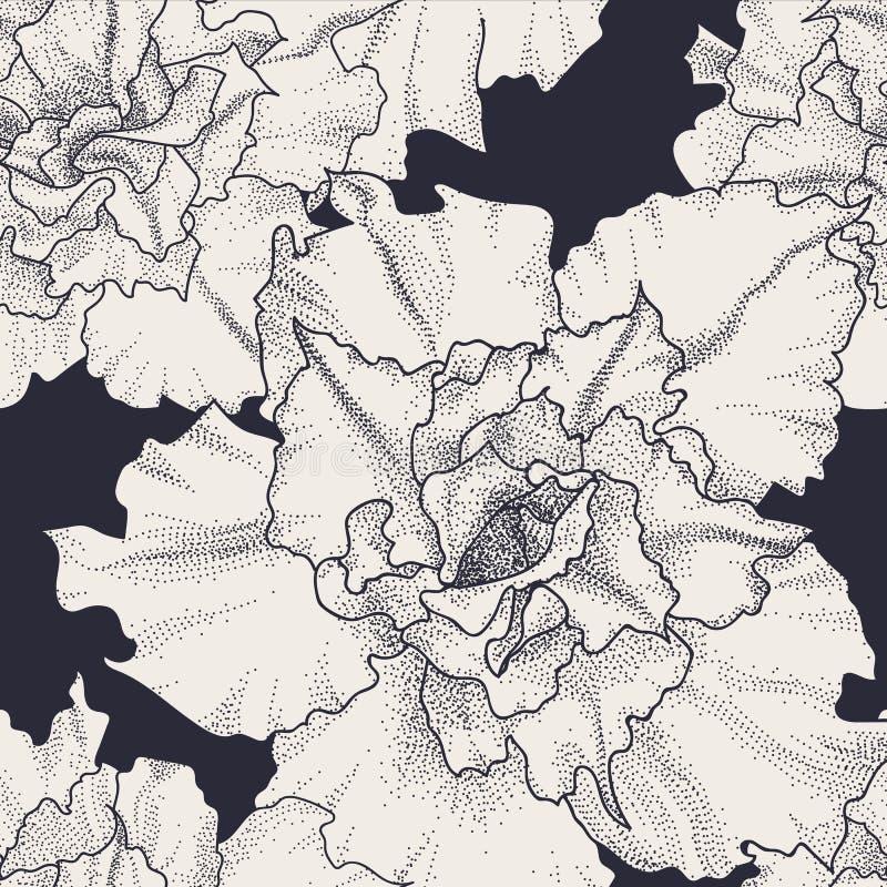 Estampado de flores inconsútil dibujado mano del vintage libre illustration