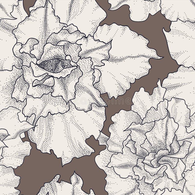 Estampado de flores inconsútil dibujado mano del vintage ilustración del vector