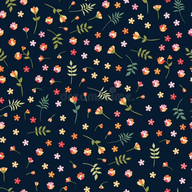 Estampado de flores inconsútil de Ditsy con las flores salvajes y las hojas coloridas en fondo negro Ejemplo hermoso del vector stock de ilustración