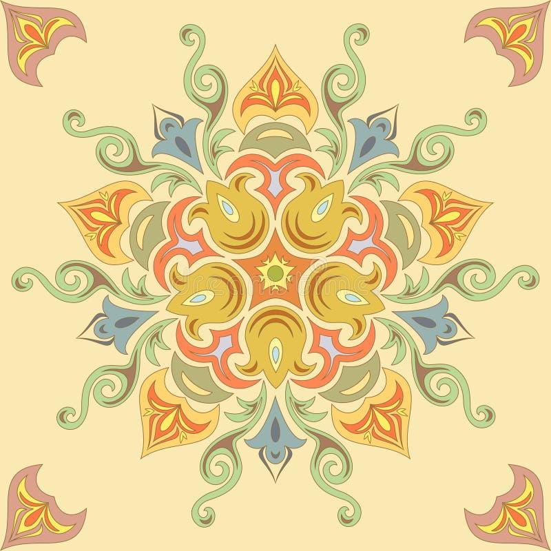 Estampado de flores inconsútil en colores en colores pastel. Mandala ilustración del vector