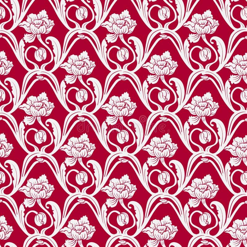 Estampado de flores inconsútil en el estilo del este de la pintura Flores entrelazadas luz en un fondo rojo ilustración del vector