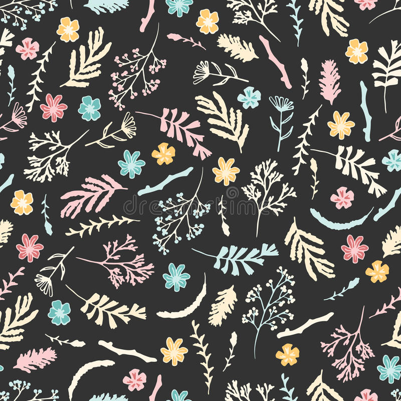 Estampado de flores inconsútil en fondo del marrón oscuro imagen de archivo