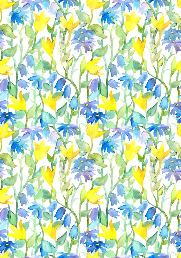 Estampado de flores inconsútil - flores de la fantasía watercolor imagen de archivo libre de regalías