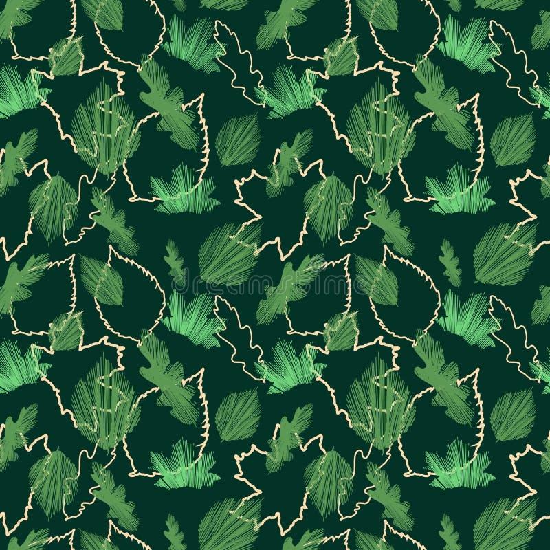 Estampado de flores inconsútil hermoso de la hoja de arce del verde del vector en fondo negro stock de ilustración