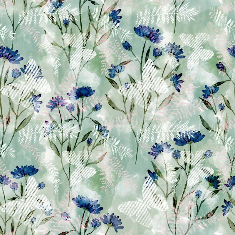 Estampado de flores inconsútil de la acuarela Flores azules en fondo ligero libre illustration