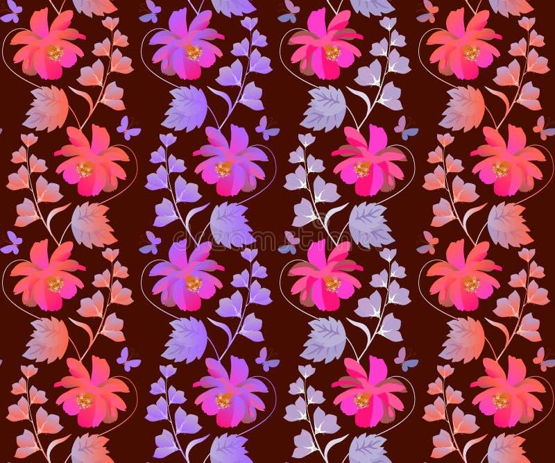 Estampado de flores inconsútil lindo con la guirnalda vertical del cosmos y de las flores de campana en vector Impresión romántic stock de ilustración