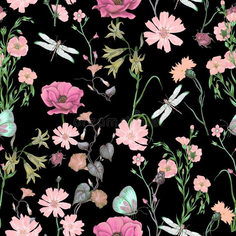 Estampado de flores inconsútil de los wildflowers del jardín, modelo botánico inconsútil stock de ilustración