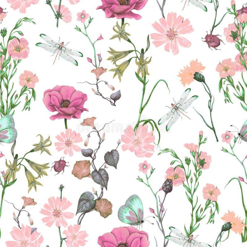 Estampado de flores inconsútil de los wildflowers del jardín, modelo botánico inconsútil ilustración del vector