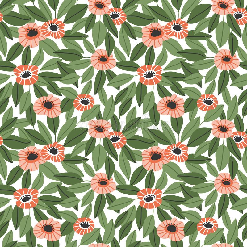 Estampado de flores inconsútil de moda en estilo exhausto de la mano del vector Ditsy repitió el fondo stock de ilustración