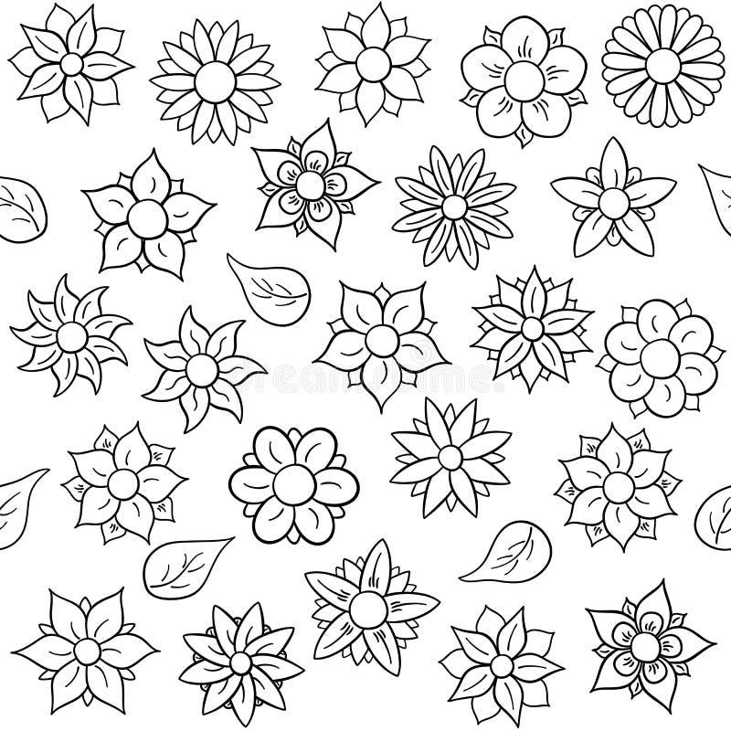 Estampado De Flores Inconsútil Para Colorear Ilustración del Vector ...