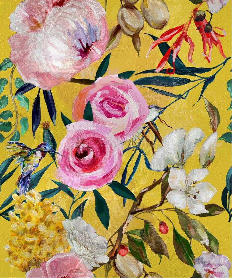 Estampado de flores inconsútil pintado aceite stock de ilustración
