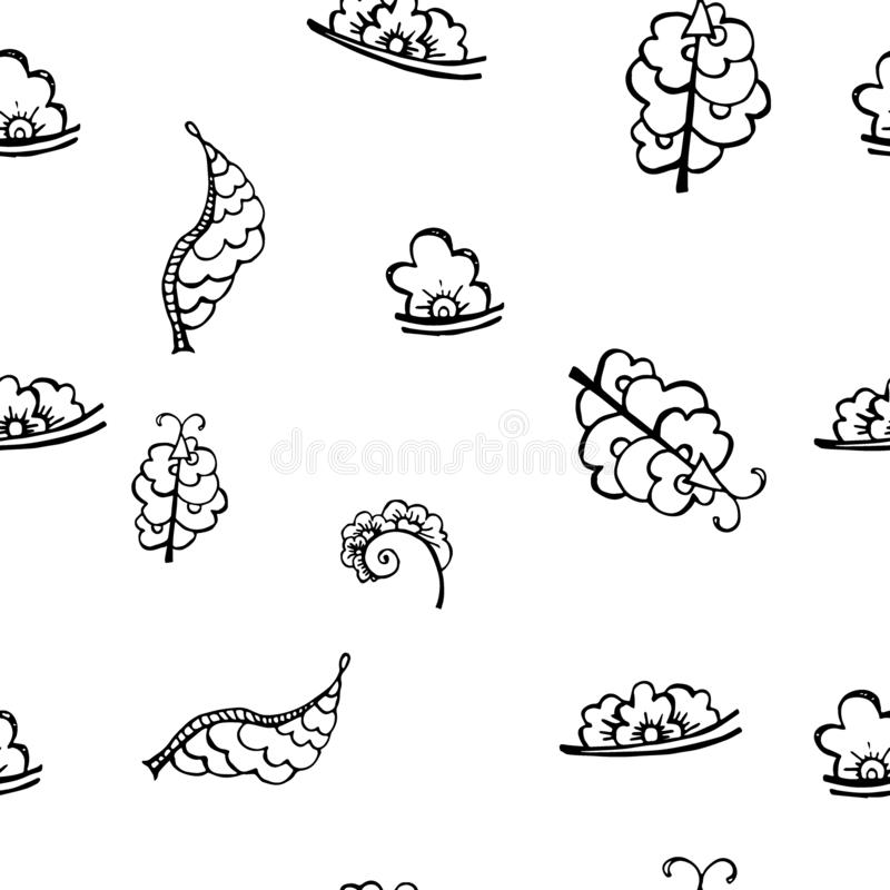Estampado de flores incons?til del contorno del vector Textura monocromática exhausta de la mano, hojas decorativas ilustración del vector