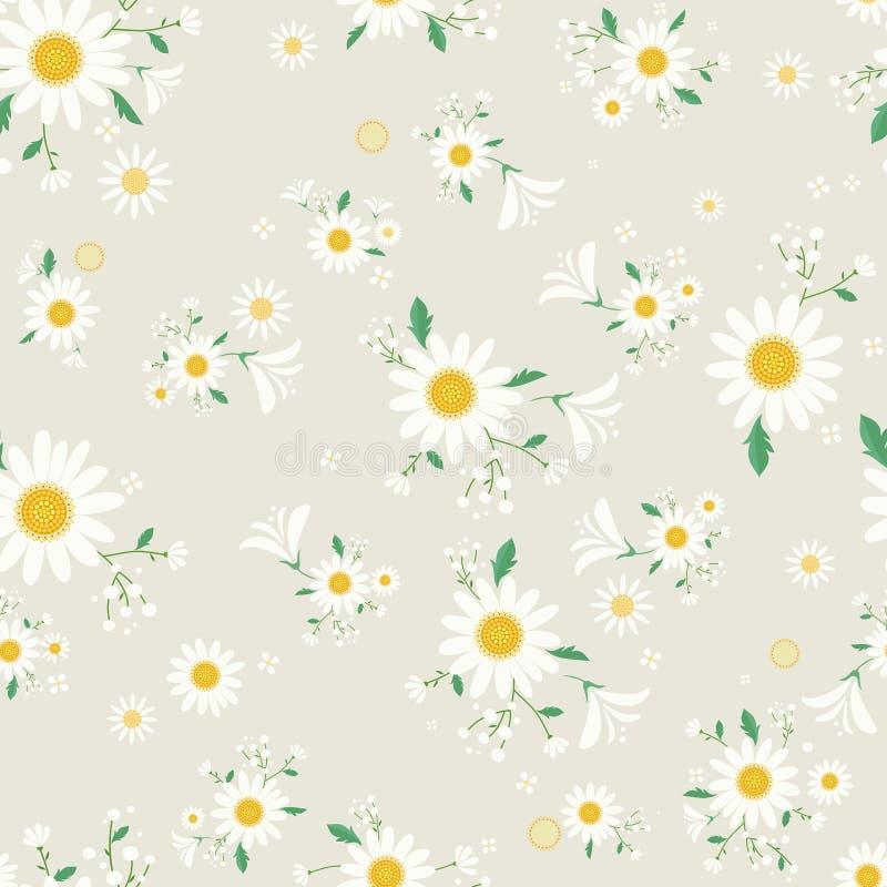 Estampado de flores incons?til de la margarita, margarita hermosa floral, decoraci?n florida de la hierba de la planta, ejemplo - stock de ilustración