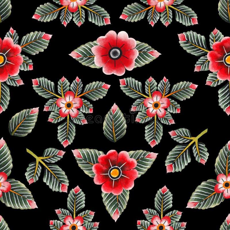Estampado de flores de la acuarela ilustración del vector