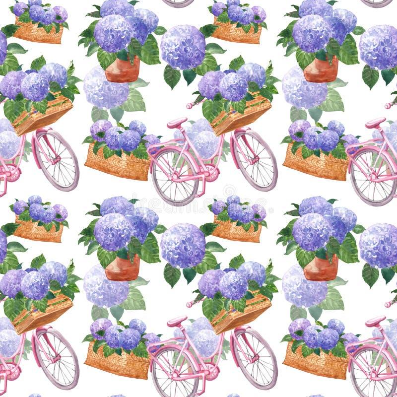 Estampado de flores de la acuarela en el estilo de Provence del vintage con la bicicleta rosada y las flores púrpuras de la horte ilustración del vector