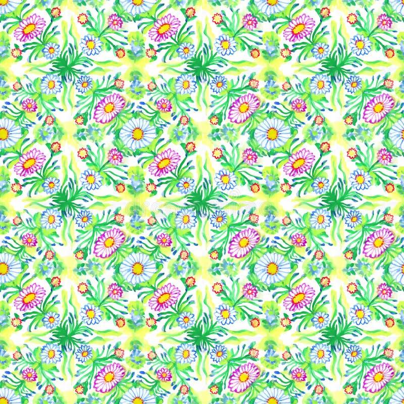 Estampado de flores de la primavera de la manzanilla y hojas y ramas verdes Modelo inconsútil dibujado mano de la acuarela libre illustration