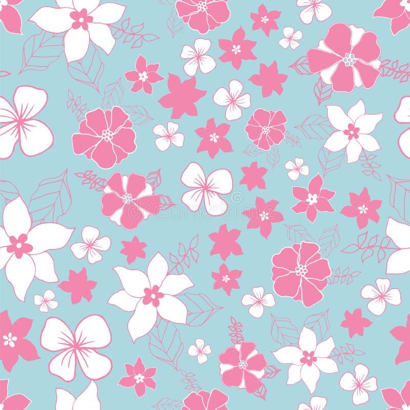 Estampado de flores de la repetición en rosa y azul inconsútiles stock de ilustración