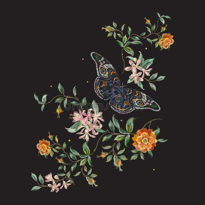 Estampado de flores de la tendencia del bordado con las rosas y la mariposa salvajes ilustración del vector