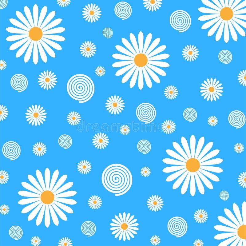 Estampado de flores de las margaritas blancas en fondo azul stock de ilustración