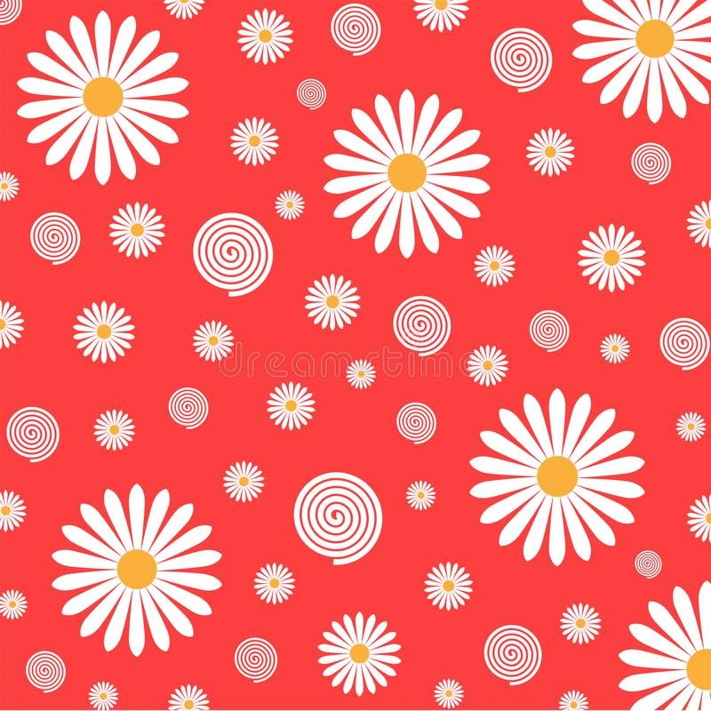Estampado de flores de las margaritas blancas en fondo rojo stock de ilustración