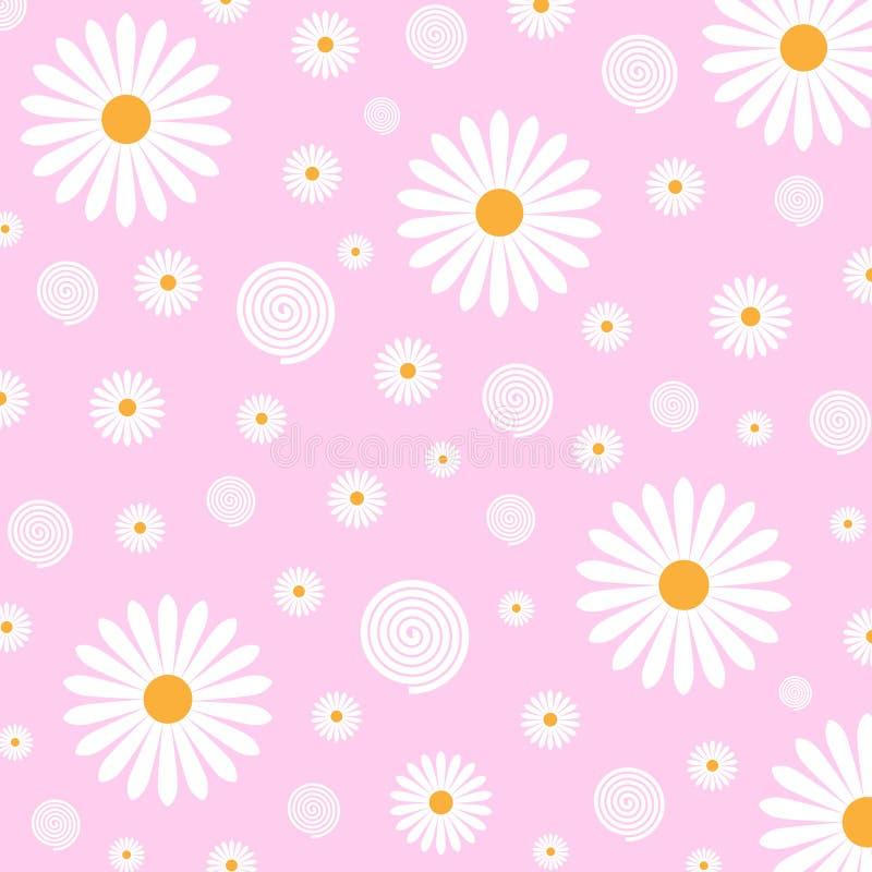 Estampado de flores de las margaritas blancas en fondo rosado ilustración del vector