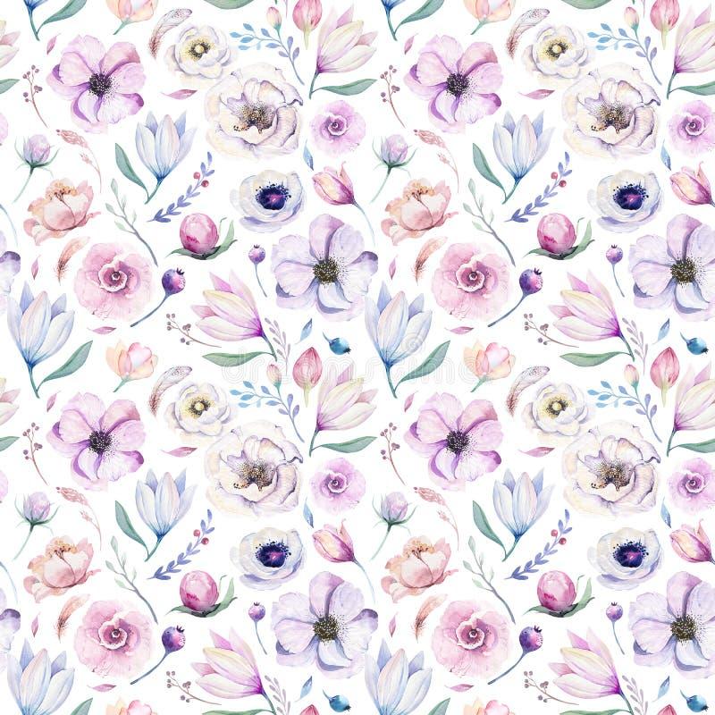Estampado de flores lilic de la acuarela de la primavera inconsútil en un fondo blanco Flores rosadas y color de rosa, decoración imagen de archivo libre de regalías