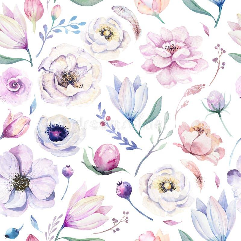 Estampado de flores lilic de la acuarela de la primavera inconsútil en un fondo blanco Flores rosadas y color de rosa, decoración stock de ilustración
