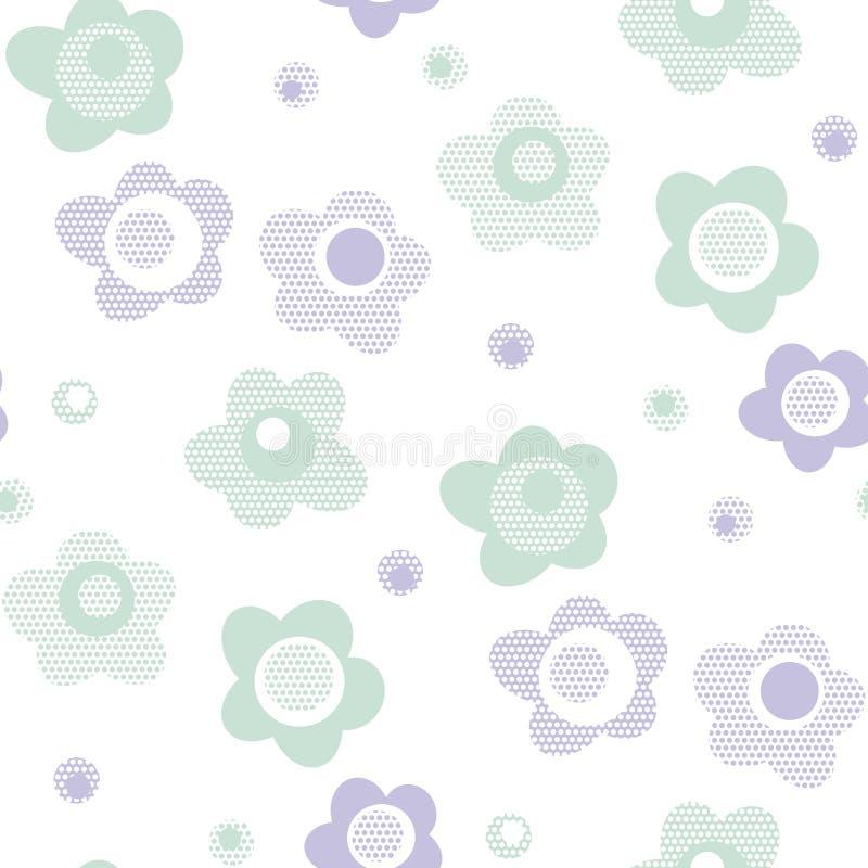 Estampado de flores lindo del estilo del bebé en color en colores pastel stock de ilustración