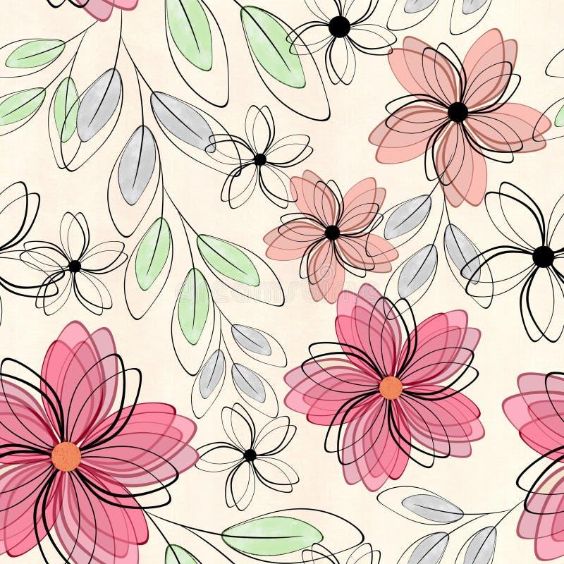 Estampado de flores lindo inconsútil abstracto flores rojas, anaranjadas en un fondo ligero libre illustration