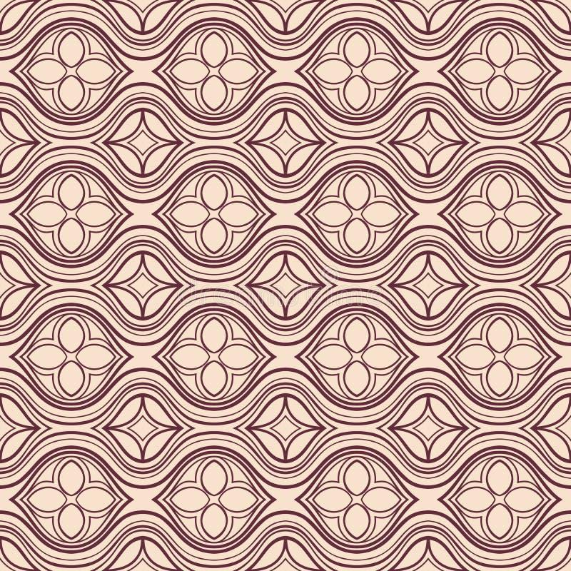 Estampado de flores marrón y beige horizontal ilustración del vector