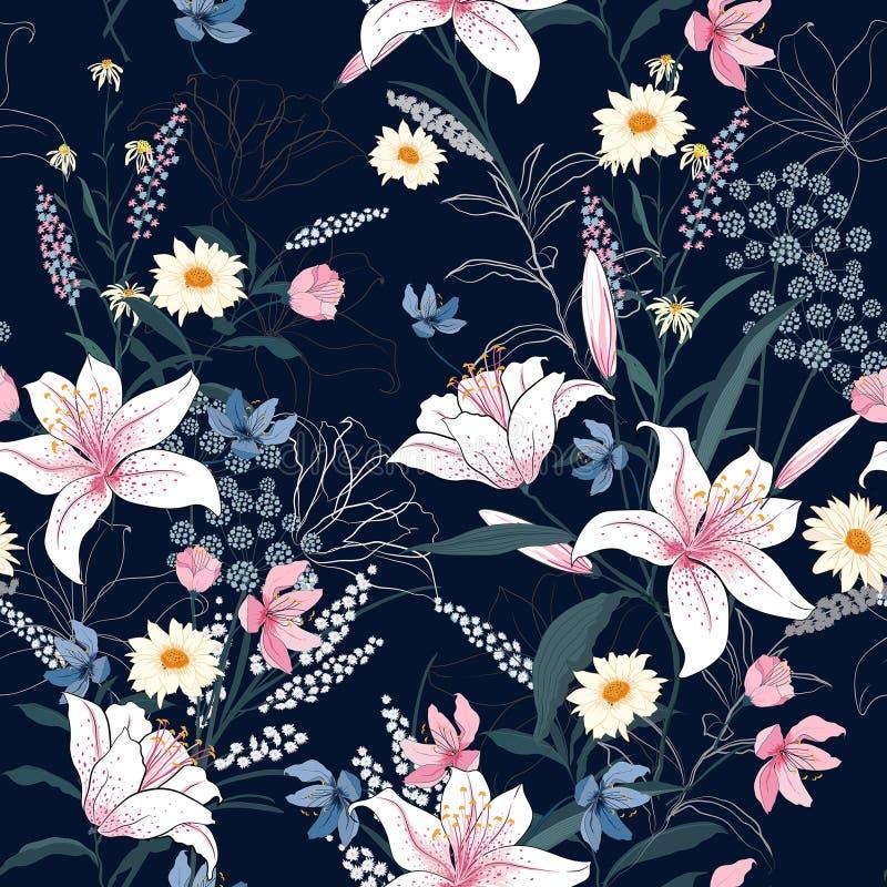 Estampado de flores de moda en los muchos clase de flores fotos de archivo