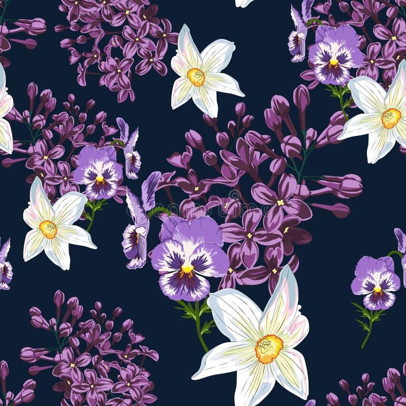 Estampado de flores de moda en los muchos clase de flores Modelo inconsútil de la primavera, imprimiendo con las flores hermosas ilustración del vector