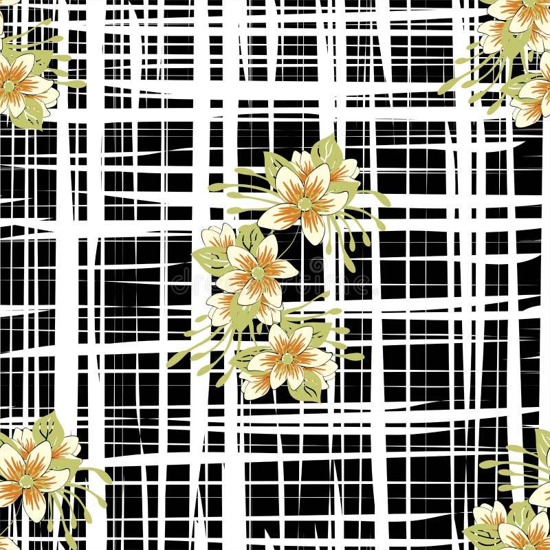 Estampado de flores de moda en de flores y de hojas r Textura inconsútil del vector para la moda libre illustration