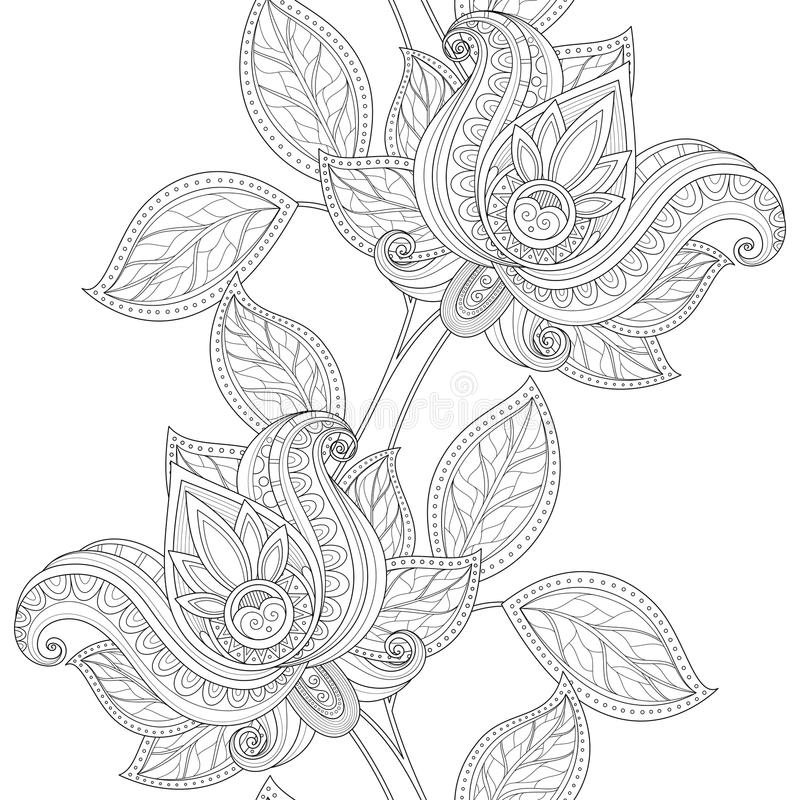 Estampado de flores monocromático inconsútil del vector stock de ilustración