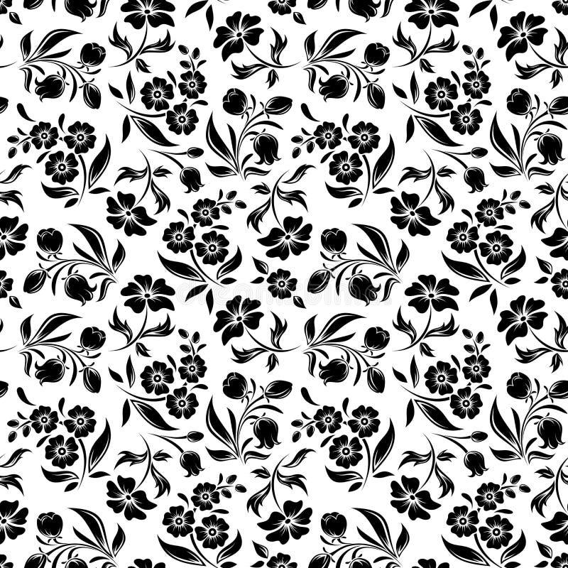 Estampado de flores negro inconsútil en blanco. Enfermedad del vector libre illustration