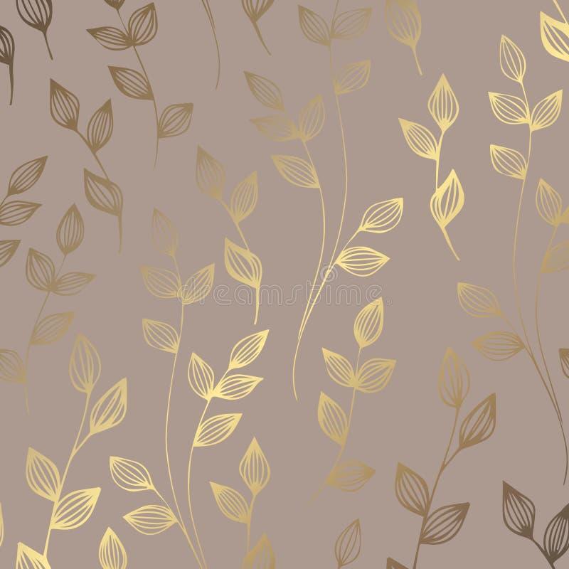 Estampado de flores de oro de lujo en un fondo marrón Modelo decorativo elegante del vector stock de ilustración