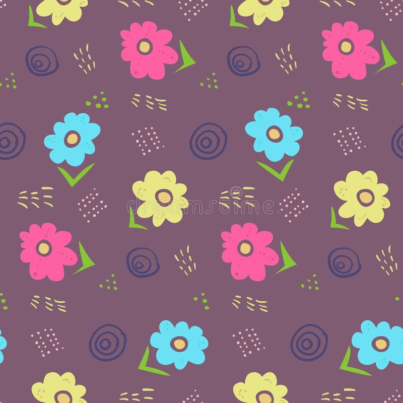 Estampado de flores oscuro del garabato del contraste lindo libre illustration