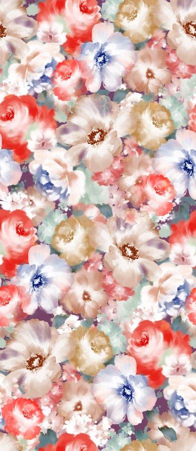Estampado de flores de Paisley en el estilo ruso Medallón con la amapola roja y las flores azules claras Diseño del invierno stock de ilustración