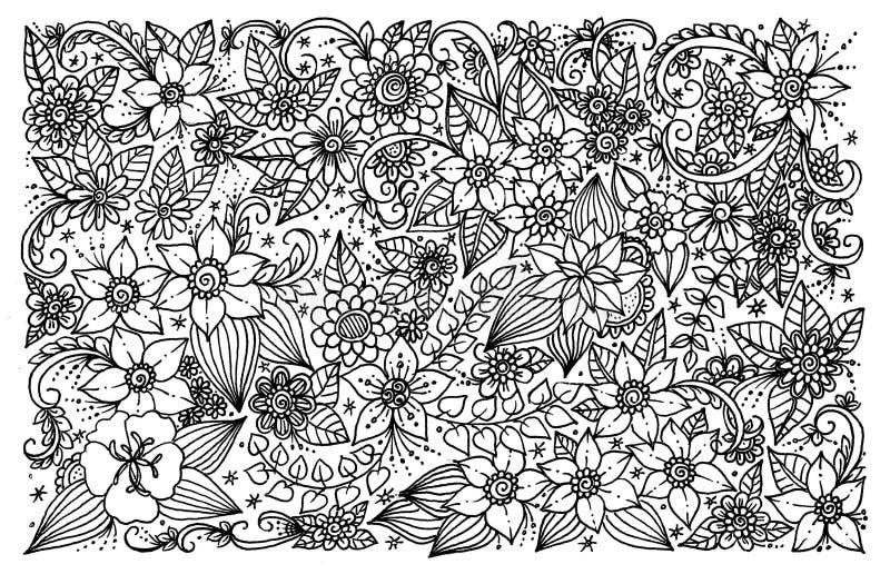 Estampado De Flores Para El Libro De Colorear Stock de ilustración ...