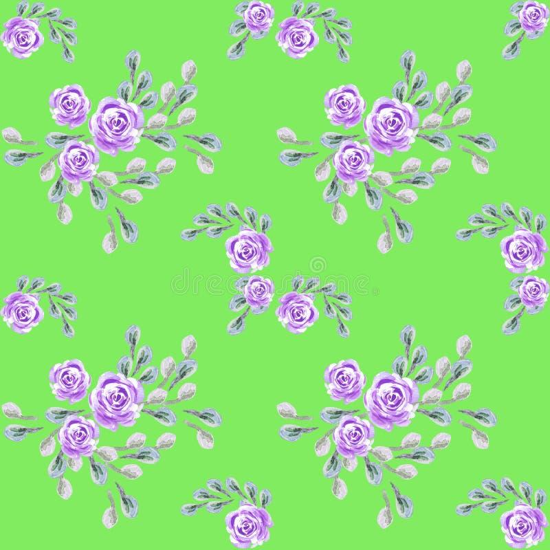 Estampado de flores para el papel pintado o la tela, papel de embalaje, tarjetas La flor se levant? stock de ilustración