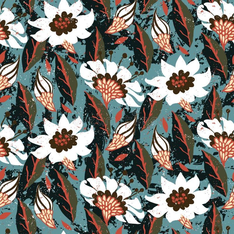 Estampado de flores pintado a mano del vector libre illustration
