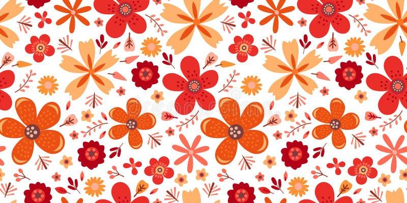 Estampado de flores que sorprende con las flores Inconsútil brillante ilustración del vector